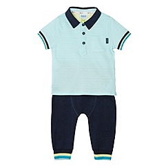 Baker by Ted Baker - Boy's aqua textured polo shirt and bottoms