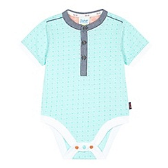 Baker by Ted Baker - Babies turquoise textured chambray trim bodysuit