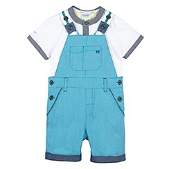Baker by Ted Baker - Babies turquoise bibshorts and t-shirt set