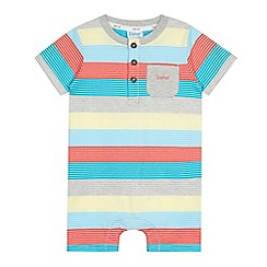 Baker by Ted Baker - Babies grey bright striped jersey romper suit