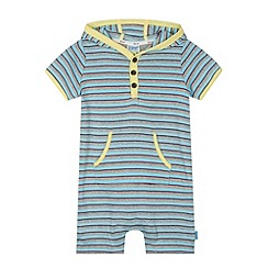 Baker by Ted Baker - Babies blue striped hooded romper suit