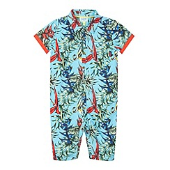 Baker by Ted Baker - Babies blue Hawaiian print shirt romper suit