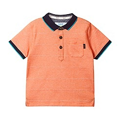 Baker by Ted Baker - Boy's light orange textured and jacquard striped polo shirt