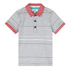Baker by Ted Baker - Boy's grey jacquard striped polo shirt