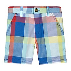 Baker by Ted Baker - Boy's blue bright herringbone checked shorts