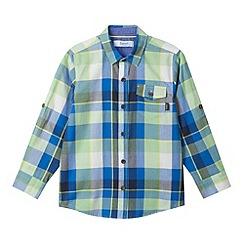 Baker by Ted Baker - Boy's blue herringbone checked shirt