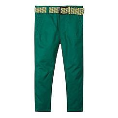 Baker by Ted Baker - Boy's green belted peg chinos