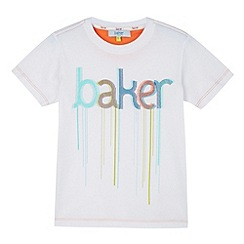 Baker by Ted Baker - Boy's white paint logo t-shirt