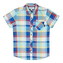 Baker by Ted Baker - Boy's blue bright herringbone checked shirt