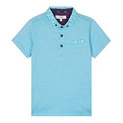 Baker by Ted Baker - Boy's turquoise fine striped polo shirt