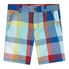 Baker by Ted Baker - Boy's blue herringbone checked shorts