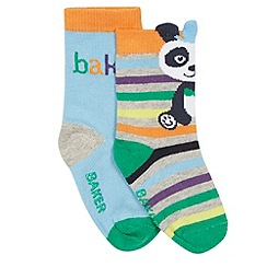 Baker by Ted Baker - Pack of two babies pale blue logo and panda socks