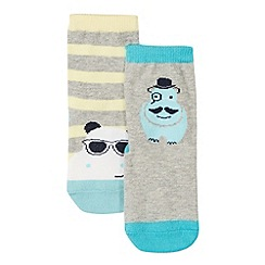 Baker by Ted Baker - Pack of two babies grey hippo print socks
