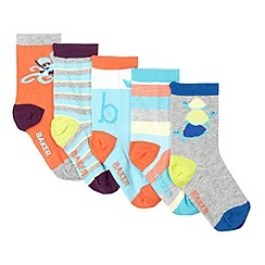 Baker by Ted Baker - Pack of five babies aqua striped and under the sea print socks