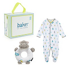 Baker by Ted Baker - Babies white hippo cotton sleepsuit and rattle gift box