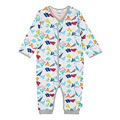 Baker by Ted Baker - Babies white paper planes printed sleepsuit