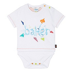 Baker by Ted Baker - Babies white 2-in-1 graphic print t-shirt and bodysuit