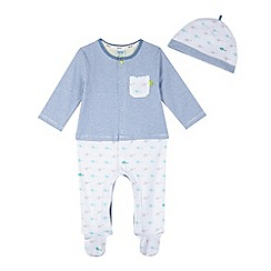 Baker by Ted Baker - Babies blue striped helicopter sleepsuit and hat