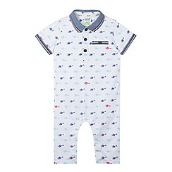 Baker by Ted Baker - Babies white helicopter print polo romper suit