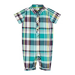 Baker by Ted Baker - Babies green multi checked shirt romper suit