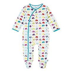 Baker by Ted Baker - Babies off white elephant print sleepsuit