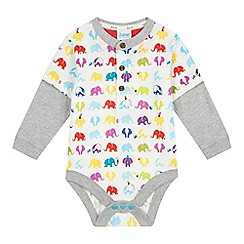 Baker by Ted Baker - Babies grey elephant print mock layered bodysuit
