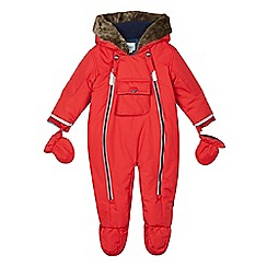 Baker by Ted Baker - Babies red padded snowsuit with mittens