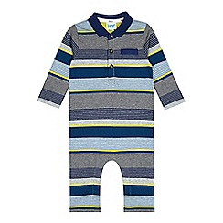 Baker by Ted Baker - Babies grey striped polo romper suit