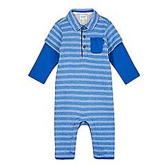 Baker by Ted Baker - Babies blue jacquard romper suit