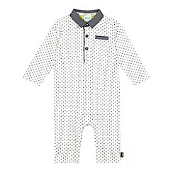 Baker by Ted Baker - Babies white textured collar romper suit