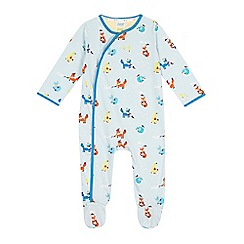 Baker by Ted Baker - Baby boys' light blue fox printed sleepsuit