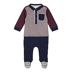 Baker by Ted Baker - Babies navy polo top and bottoms footed romper suit