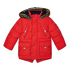 Baker by Ted Baker - Boy's red faux fur lined padded parka