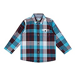 Baker by Ted Baker - Boy's blue herringbone checked shirt