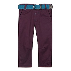 Baker by Ted Baker - Boy's plum dogtooth slim fit belted chinos