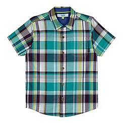 Baker by Ted Baker - Boy's green checked short sleeved shirt