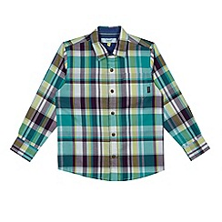 Baker by Ted Baker - Boy's green checked long sleeved shirt