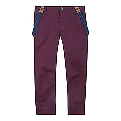 Baker by Ted Baker - Boy's plum dogtooth slim fit chinos with braces