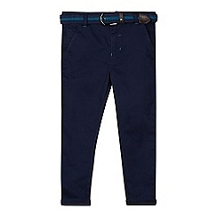 Baker by Ted Baker - Boy's navy belted slim herringbone chinos