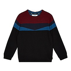 Baker by Ted Baker - Boy's navy merino wool blend colour block jumper