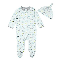 Baker by Ted Baker - Babies pale blue polar bear printed sleepsuit and cap set