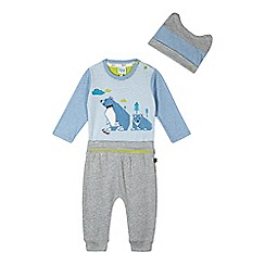 Baker by Ted Baker - Babies blue bear applique bodysuit, trousers and hat set