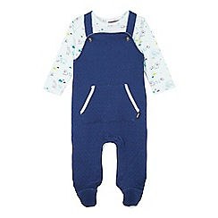 Baker by Ted Baker - Babies blue footed dungarees and top set