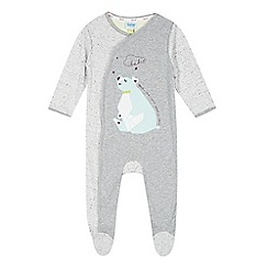 Baker by Ted Baker - Babies grey polar bear applique sleepsuit