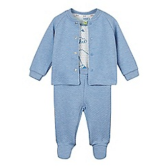 Baker by Ted Baker - Babies blue bears bodysuit, jacket and footed bottoms set