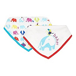 Baker by Ted Baker - Pack of two babies off white elephant dribble bibs