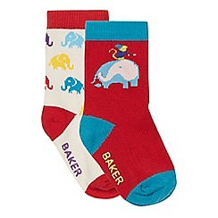 Baker by Ted Baker - Pack of two babies red and cream elephant socks