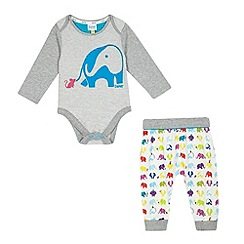Baker by Ted Baker - Babies' grey sleepsuit, leggings and slippers in gift box