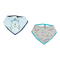 Baker by Ted Baker - Pack of two baby boys' blue and grey polar bear bibs