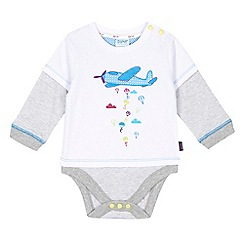 Baker by Ted Baker - Baby boys' white mock sleeved aeroplane bodysuit